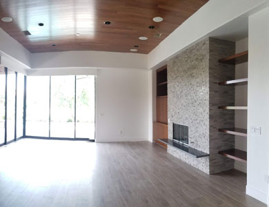 Living Room with fireplace and built-in display wall.