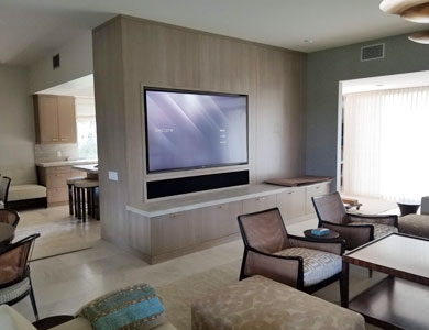 Living room with wall-mount TV.